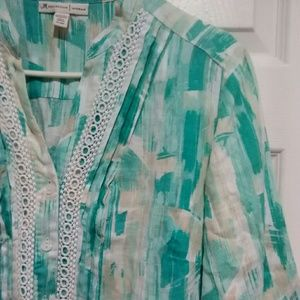 JM Collection Teal White Button Down Top Size 14W